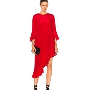 Alexis // Red Hazel Asymmetrical Ruffle Dress